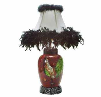 Ginger Jar lamp, Red with rooster