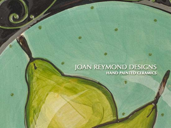 Closeup detail of turquoise bowl with pears - Joan Reymond Designs. Hand painted ceramics.